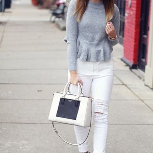 Chicwish grey frilling hemline sweater